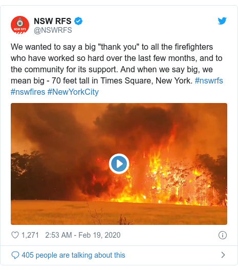 """Twitter post by @NSWRFS: We wanted to say a big """"thank you"""" to all the firefighters who have worked so hard over the last few months, and to the community for its support. And when we say big, we mean big - 70 feet tall in Times Square, New York. #nswrfs #nswfires #NewYorkCity"""