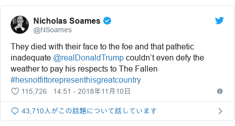 Twitter post by @NSoames: They died with their face to the foe and that pathetic inadequate @realDonaldTrump couldn't even defy the weather to pay his respects to The Fallen #hesnotfittorepresenthisgreatcountry