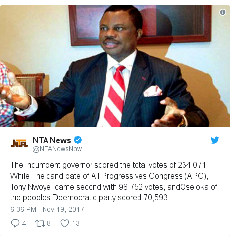 Twitter post by @NTANewsNow: The incumbent governor scored the total votes of 234,071 While The candidate of All Progressives Congress (APC), Tony Nwoye, came second with 98,752 votes, andOseloka of the peoples Deemocratic party scored 70,593