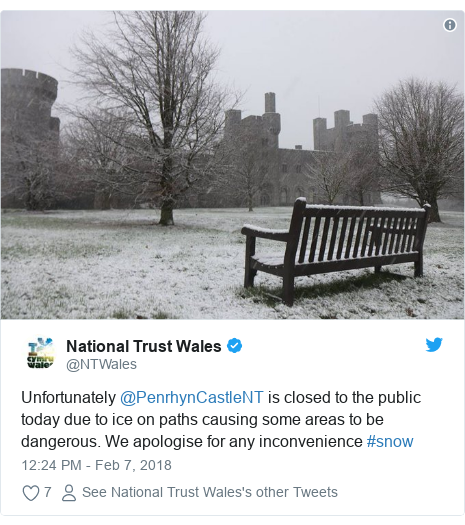 Twitter post by @NTWales: Unfortunately @PenrhynCastleNT is closed to the public today due to ice on paths causing some areas to be dangerous. We apologise for any inconvenience #snow