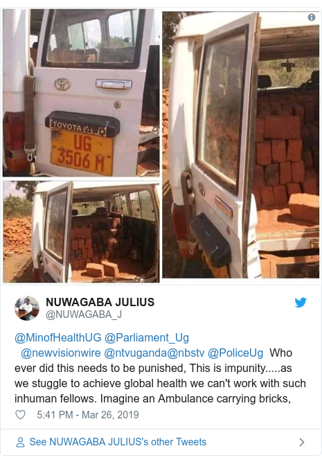 Twitter ubutumwa bwa @NUWAGABA_J: @MinofHealthUG @Parliament_Ug  @newvisionwire @ntvuganda@nbstv @PoliceUg  Who ever did this needs to be punished, This is impunity.....as we stuggle to achieve global health we can't work with such inhuman fellows. Imagine an Ambulance carrying bricks,