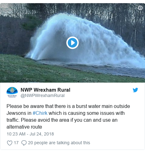 Twitter post by @NWPWrexhamRural: Please be aware that there is a burst water main outside Jewsons in #Chirk which is causing some issues with traffic. Please avoid the area if you can and use an alternative route