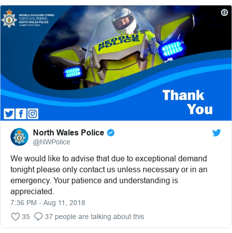 Twitter post by @NWPolice: We would like to advise that due to exceptional demand tonight please only contact us unless necessary or in an emergency. Your patience and understanding is appreciated.