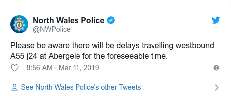 Twitter post by @NWPolice: Please be aware there will be delays travelling westbound A55 j24 at Abergele for the foreseeable time.