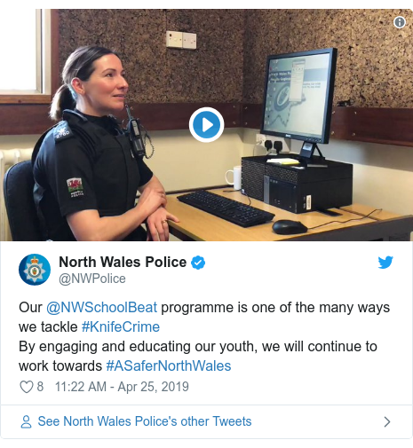 Twitter post by @NWPolice: Our @NWSchoolBeat programme is one of the many ways we tackle #KnifeCrimeBy engaging and educating our youth, we will continue to work towards #ASaferNorthWales