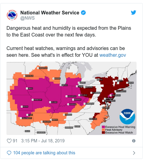 Twitter post by @NWS: Dangerous heat and humidity is expected from the Plains to the East Coast over the next few days. Current heat watches, warnings and advisories can be seen here. See what's in effect for YOU at