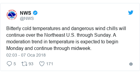 @NWS tarafından yapılan Twitter paylaşımı: Bitterly cold temperatures and dangerous wind chills will continue over the Northeast U.S. through Sunday. A moderation trend in temperature is expected to begin Monday and continue through midweek.