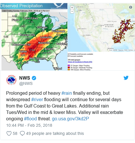 Twitter post by @NWS: Prolonged period of heavy #rain finally ending, but widespread #river flooding will continue for several days from the Gulf Coast to Great Lakes. Additional rain Tues/Wed in the mid & lower Miss. Valley will exacerbate ongoing #flood threat.