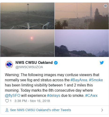 Twitter post by @NWSCWSUZOA: Warning  The following images may confuse viewers that normally see fog and stratus across the #BayArea. #Smoke has been limiting visibility between 1 and 2 miles this morning. Today marks the 8th consecutive day where @flySFO will experience #delays due to smoke. #CAwx