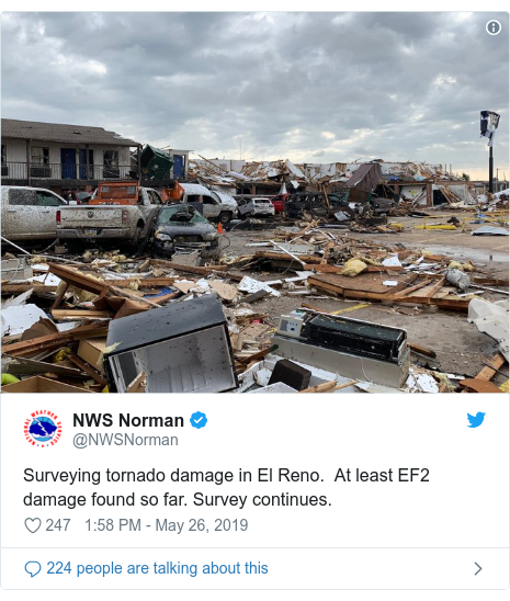 Twitter post by @NWSNorman: Surveying tornado damage in El Reno.  At least EF2 damage found so far. Survey continues.