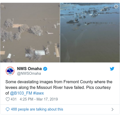 Twitter post by @NWSOmaha: Some devastating images from Fremont County where the levees along the Missouri River have failed. Pics courtesy of @B103_FM #iawx
