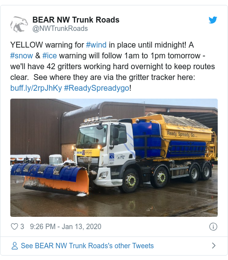 Twitter post by @NWTrunkRoads: YELLOW warning for #wind in place until midnight! A #snow & #ice warning will follow 1am to 1pm tomorrow - we'll have 42 gritters working hard overnight to keep routes clear.  See where they are via the gritter tracker here   #ReadySpreadygo!
