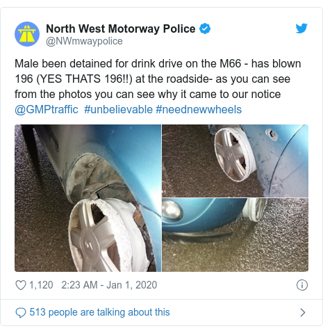 Twitter post by @NWmwaypolice: Male been detained for drink drive on the M66 - has blown 196 (YES THATS 196!!) at the roadside- as you can see from the photos you can see why it came to our notice @GMPtraffic  #unbelievable #neednewwheels