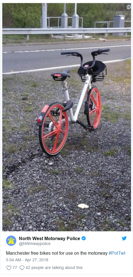 Twitter post by @NWmwaypolice: Manchester free bikes not for use on the motorway #PolTwt