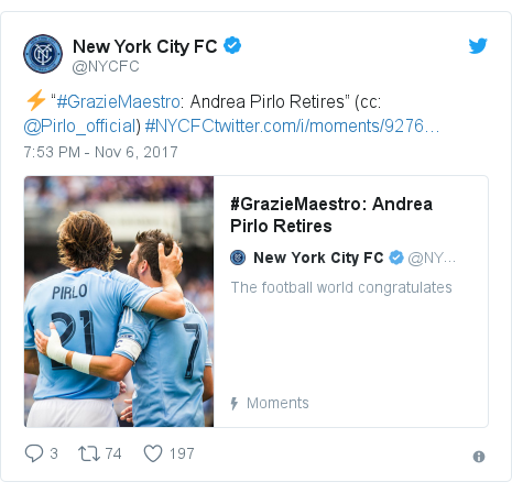 "Twitter post by @NYCFC: ⚡️ ""#GrazieMaestro  Andrea Pirlo Retires"" (cc  @Pirlo_official) #NYCFC"