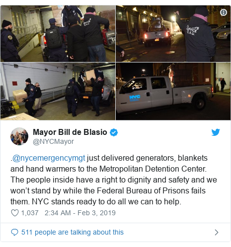 Twitter post by @NYCMayor: .@nycemergencymgt just delivered generators, blankets and hand warmers to the Metropolitan Detention Center. The people inside have a right to dignity and safety and we won't stand by while the Federal Bureau of Prisons fails them. NYC stands ready to do all we can to help.