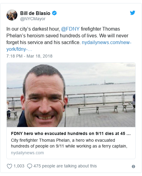 Twitter post by @NYCMayor: In our city's darkest hour, @FDNY firefighter Thomas Phelan's heroism saved hundreds of lives. We will never forget his service and his sacrifice.