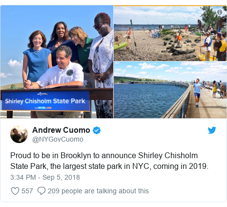 Twitter post by @NYGovCuomo: Proud to be in Brooklyn to announce Shirley Chisholm State Park, the largest state park in NYC, coming in 2019.