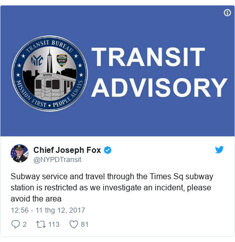 Twitter bởi @NYPDTransit: Subway service and travel through the Times Sq subway station is restricted as we investigate an incident, please avoid the area