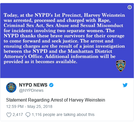 Twitter post by @NYPDnews: Statement Regarding Arrest of Harvey Weinstein