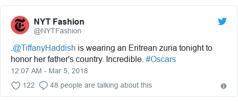 Twitter post by @NYTFashion: .@TiffanyHaddish is wearing an Eritrean zuria tonight to honor her father's country. Incredible. #Oscars