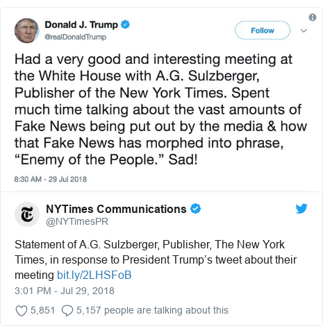 Twitter post by @NYTimesPR: Statement of A.G. Sulzberger, Publisher, The New York Times, in response to President Trump's tweet about their meeting