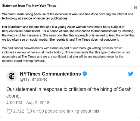 Twitter post by @NYTimesPR: Our statement in response to criticism of the hiring of Sarah Jeong.