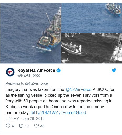Twitter post by @NZAirForce: Imagery that was taken from the @NZAirForce P-3K2 Orion as the fishing vessel picked up the seven survivors from a ferry with 50 people on board that was reported missing in Kiribati a week ago. The Orion crew found the dinghy earlier today  #Force4Good