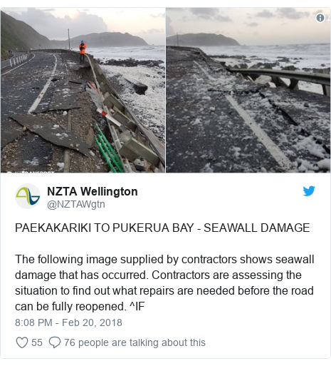 Twitter post by @NZTAWgtn: PAEKAKARIKI TO PUKERUA BAY - SEAWALL DAMAGEThe following image supplied by contractors shows seawall damage that has occurred. Contractors are assessing the situation to find out what repairs are needed before the road can be fully reopened. ^IF