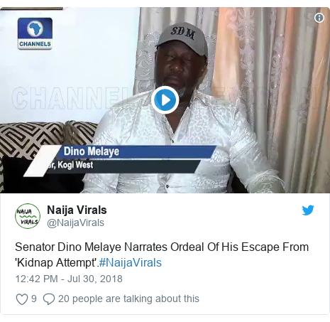 Twitter post by @NaijaVirals: Senator Dino Melaye Narrates Ordeal Of His Escape From 'Kidnap Attempt'.#NaijaVirals