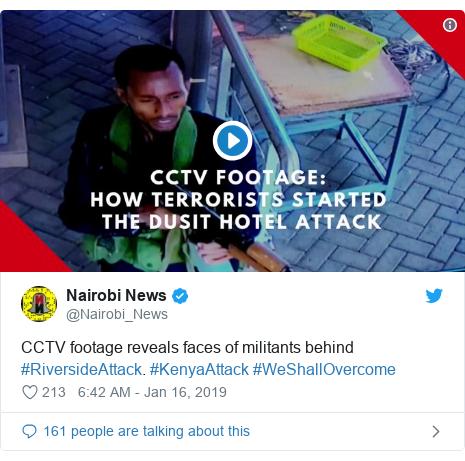 Ujumbe wa Twitter wa @Nairobi_News: CCTV footage reveals faces of militants behind #RiversideAttack. #KenyaAttack #WeShallOvercome