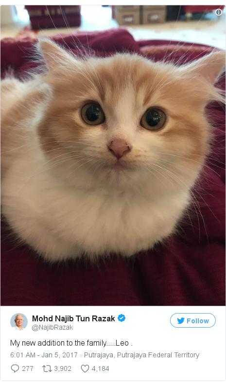Twitter post by @NajibRazak: My new addition to the family.....Leo .