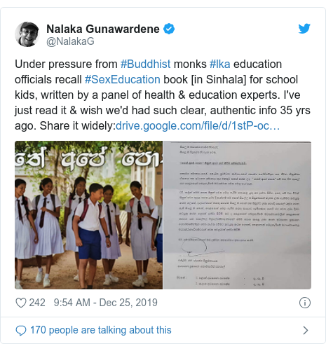 Twitter හි @NalakaG කළ පළකිරීම: Under pressure from #Buddhist monks #lka education officials recall #SexEducation book [in Sinhala] for school kids, written by a panel of health & education experts. I've just read it & wish we'd had such clear, authentic info 35 yrs ago. Share it widely