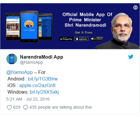 Twitter post by @NamoApp: @NamoApp -- For Android    iOS    Windows