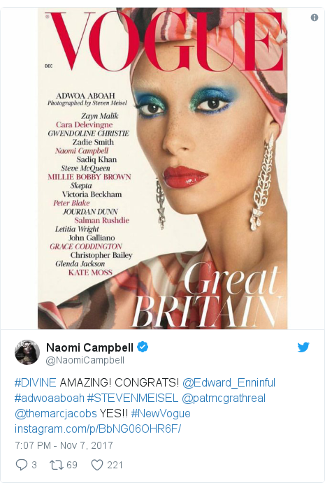 Twitter post by @NaomiCampbell: #DIVINE AMAZING! CONGRATS! @Edward_Enninful #adwoaaboah #STEVENMEISEL @patmcgrathreal @themarcjacobs YES!! #NewVogue