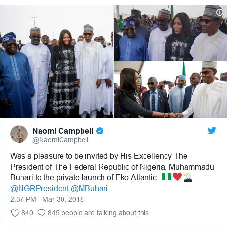 Twitter post by @NaomiCampbell: Was a pleasure to be invited by His Excellency The President of The Federal Republic of Nigeria, Muhammadu Buhari to the private launch of Eko Atlantic. 🇳🇬♥️🦅 @NGRPresident @MBuhari