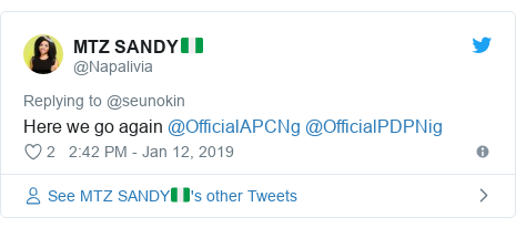 Twitter post by @Napalivia: Here we go again @OfficialAPCNg @OfficialPDPNig