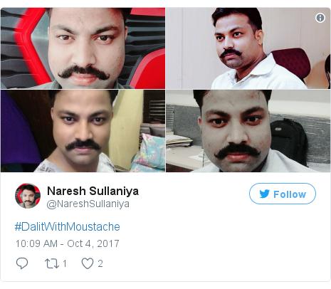 Twitter post by @NareshSullaniya: #DalitWithMoustache pic.twitter.com/LyCyn91oUu