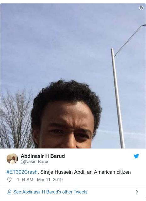 Twitter post by @Nasir_Barud: #ET302Crash, Siraje Hussein Abdi, an American citizen