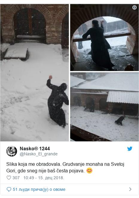 Twitter post by @Nasko_El_grande: Slika koja me obradovala. Grudvanje monaha na Svetoj Gori, gde sneg nije baš česta pojava. 😊