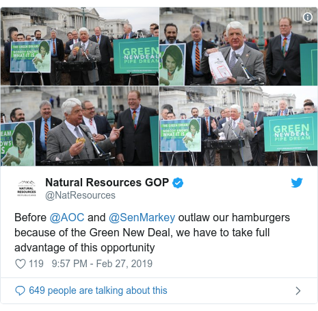 Twitter post by @NatResources: Before @AOC and @SenMarkey outlaw our hamburgers because of the Green New Deal, we have to take full advantage of this opportunity