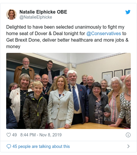 Twitter post by @NatalieElphicke: Delighted to have been selected unanimously to fight my home seat of Dover & Deal tonight for @Conservatives to Get Brexit Done, deliver better healthcare and more jobs & money
