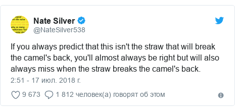Twitter пост, автор: @NateSilver538: If you always predict that this isn't the straw that will break the camel's back, you'll almost always be right but will also always miss when the straw breaks the camel's back.