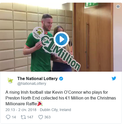 Twitter допис, автор: @NationalLottery: A rising Irish football star Kevin O'Connor who plays for Preston North End collected his €1 Million on the Christmas Millionaire Raffle🎉