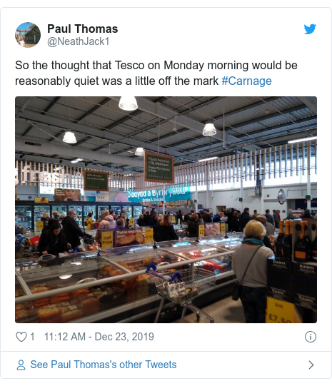 Twitter post by @NeathJack1: So the thought that Tesco on Monday morning would be reasonably quiet was a little off the mark #Carnage