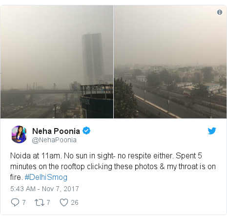Twitter post by @NehaPoonia: Noida at 11am. No sun in sight- no respite either. Spent 5 minutes on the rooftop clicking these photos & my throat is on fire. #DelhiSmog