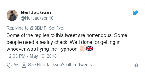 Twitter post by @NeilJackson10: Some of the replies to this tweet are horrendous. Some people need a reality check. Well done for getting in whoever was flying the Typhoon 👏🏻🇬🇧