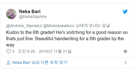 Twitter post by @NekaSaphire: Kudos to the 6th grader! He's snitching for a good reason so thats just fine. Beautiful handwriting for a 6th grader by the way