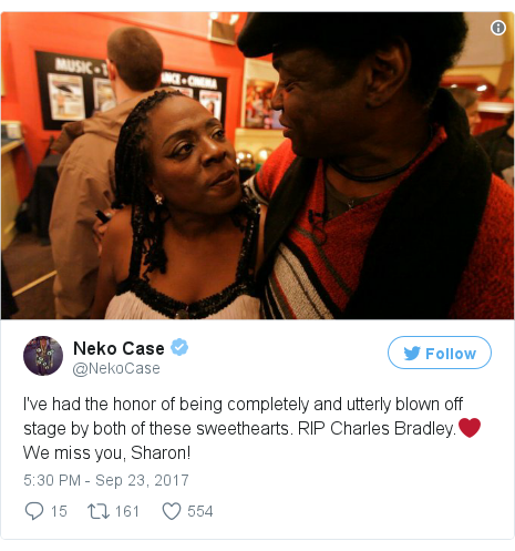 Twitter post by @NekoCase: I've had the honor of being completely and utterly blown off stage by both of these sweethearts. RIP Charles Bradley.❤️We miss you, Sharon! pic.twitter.com/QUdCugUw3R