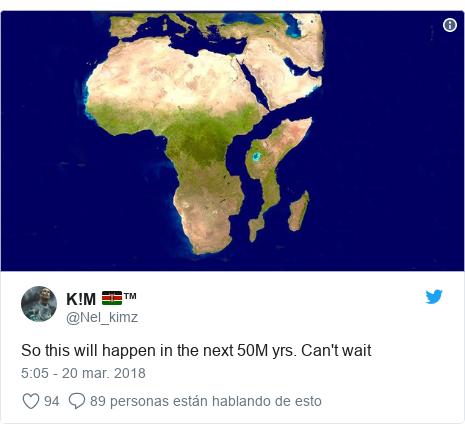 Publicación de Twitter por @Nel_kimz: So this will happen in the next 50M yrs. Can't wait